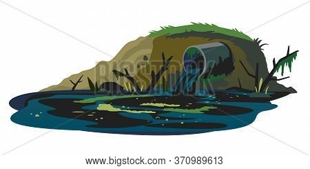 Industrial Pipe On River Bank Discharge Wastewater Isolated Conceptual Illustration, Ecological Disa