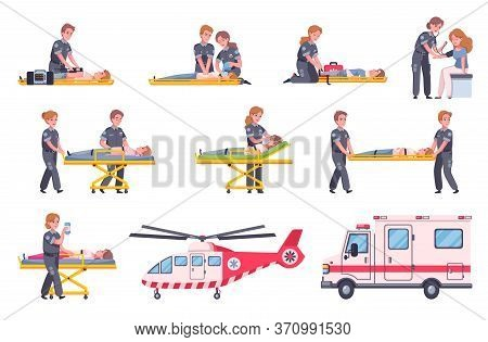 Paramedic Emergency Ambulance Set Of Isolated Icons And Cartoon Human Characters Of Doctors Victims