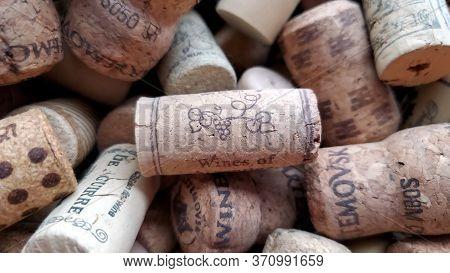 Odessa / Ukraine - 05 28 2020: Soft Focus To Wine Cork Of Argentina Wine On Blurred Background Of Me