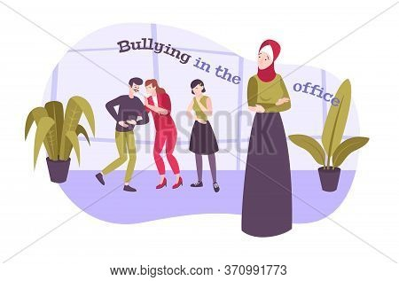 Bullying Work Flat Composition With Text And Character Of Muslim Woman Being Bullied By Her Coworker