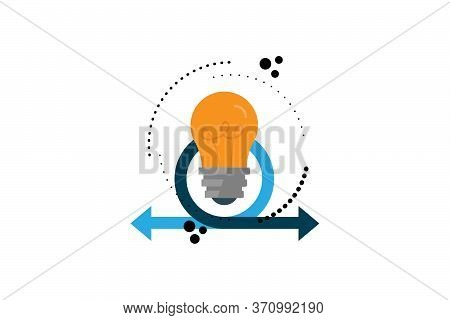 Idea Concept - Bulb And Arrows. Conceptual Vector Illustration In Flat Style Design.isolated On Back