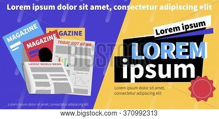 Newspaper Banner With Flat Background Newspapers And Magazines Images With Editable Advertising Text