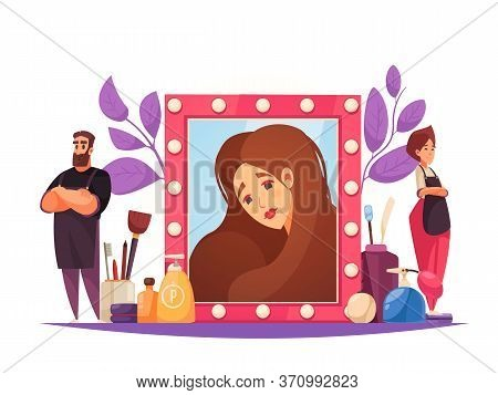 Makeup Beautician Stylist Composition With Female Character In Mirror Frame With Doodle Workers And