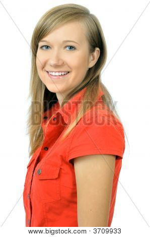 Pretty Smiling Young Girl In Red Shirt
