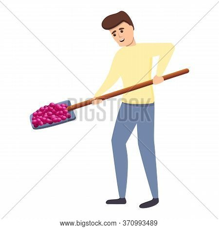 Man Take Shovel Grapes Icon. Cartoon Of Man Take Shovel Grapes Vector Icon For Web Design Isolated O