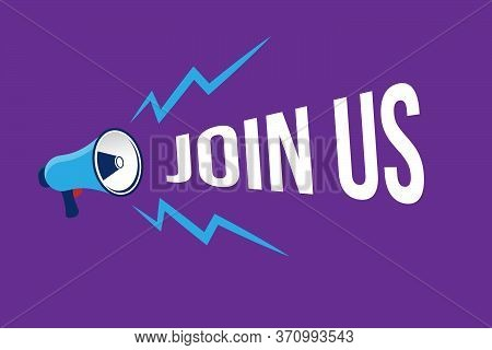 Banner With Megaphone And Text Join Us. Megaphone Loudspeaker With Message Join Us. Cartoon Illustra