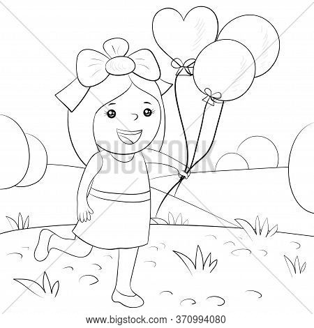 A  Cute Girl With Balloons On The Nature Landscape With Trees And Grass Image For Relaxing Activity.