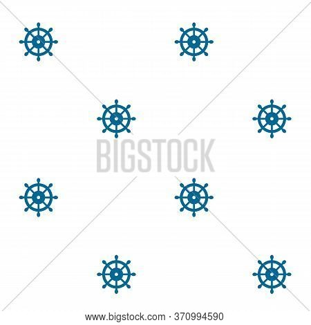 Dark Blue Helm On White Solid Background, Seamless Vector Pattern. Nautical Digital Paper, Calm Colo