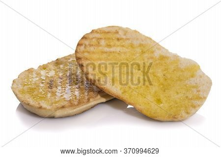 Toasted Mollete With Olive Oil, Typical Andalusian Breakfast Isolated On White Background.