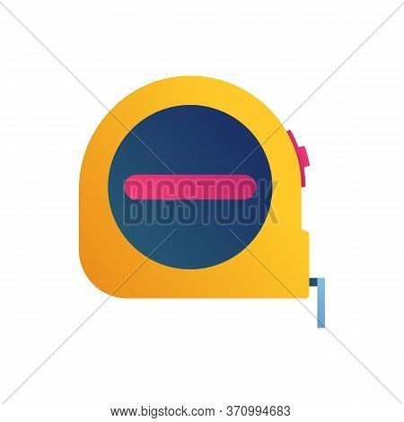 Tape Measure Icon In Cartoon Style. Carpentry Hand Tool Element Isolated On White Background. Orange