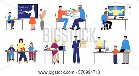 Tutoring Set With Flat Compositions Of People At Desks And Computers During Education Process Remote