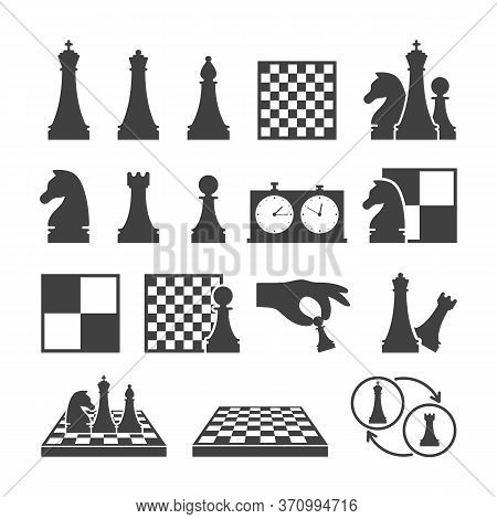 Chess Game Black Icons On White Background. Double Chess Clock, Chessboard And Chess Pieces Isolated