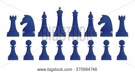 Full Set Of Chess Pieces Isolated On White Background. King, Queen, Bishop, Knight, Rook, Pawns Figu