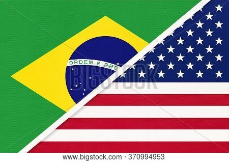Republic Of Brazil And United States Of America Or Usa, Symbol Of National Flags From Textile. Relat