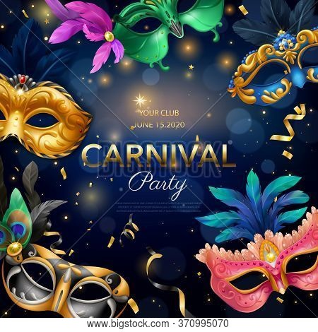 Carnival Party Realistic Poster With Masquerade Event Symbols Vector Illustration