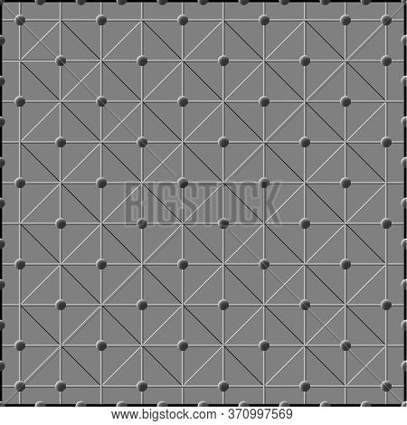 Embossed Pattern Of Balls, Mesh And Diagonals In A Metallic Style. Background For Textile And Other