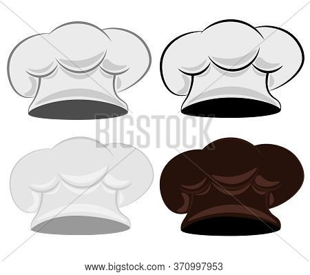 Chef's Hat. Set Of Four Chef Hats On A White Isolated Background.