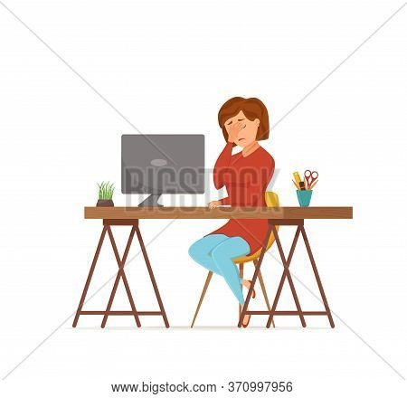 Woman Busy Tired Working On Computer Colorful Vector Concept.