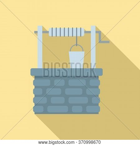 Old Stone Water Well Icon. Flat Illustration Of Old Stone Water Well Vector Icon For Web Design