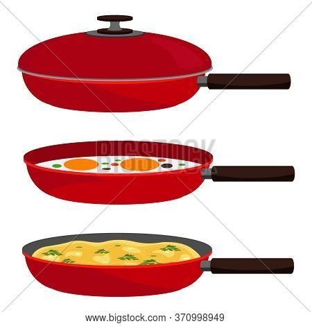 A Set Of Pans. Vector Kitchen Pans With Fried Eggs And Empty Ones On A Vector Isolated Background.