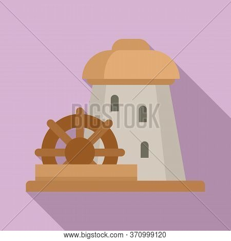 Water Mill Tower Icon. Flat Illustration Of Water Mill Tower Vector Icon For Web Design