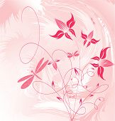 Decorative flowers on grunge background vector illustration. Please see some similar pictures from my portfolio. poster