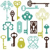 Collection of Antique Keys - for your design or scrapbook - in vector poster