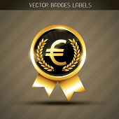 vector euro sign on golden label poster