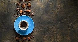 Trendy Healthy Coffee With Chaga Mushroom. Dry And Fresh Mushrooms And Coffee Beans On A Dark Rustic