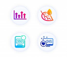 Leaf Dew, Upper Arrows And Recovery Ssd Icons Simple Set. Button With Halftone Dots. Heart Sign. Wat