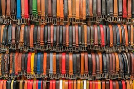 Italian Leather Belts In Florence Market, Italy.