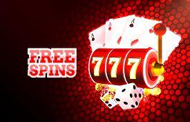 Casino Free Spins Slots Neon Icons, Golden Slot Sign Machine, Night Vegas.