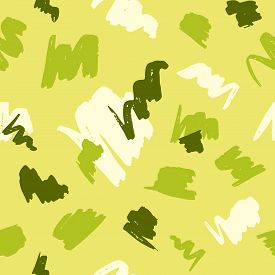 Seamless Pattern With Abstract Brush Strokes On Yellow Background.