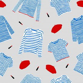 Seamless Pattern With And Drawn Blue Striped Longsleeve T-shirts, Red Berets And Lipsticks.