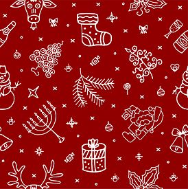 New Year, Christmas Pattern With Hand Drawn Elements, Symbols. Happy 2020 New Year, Christmas Gift C