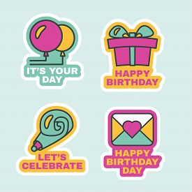 Birthday Labels Isolated, Comic Stickers Set Flat