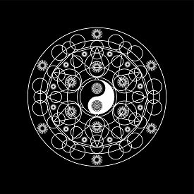 Mandala Pattern With Yin Yand Sign Outline