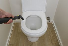 Sanitizing Toilet Bowl Using A Steam Cleaner