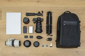 Top Down View Of Gear For Photography Trip