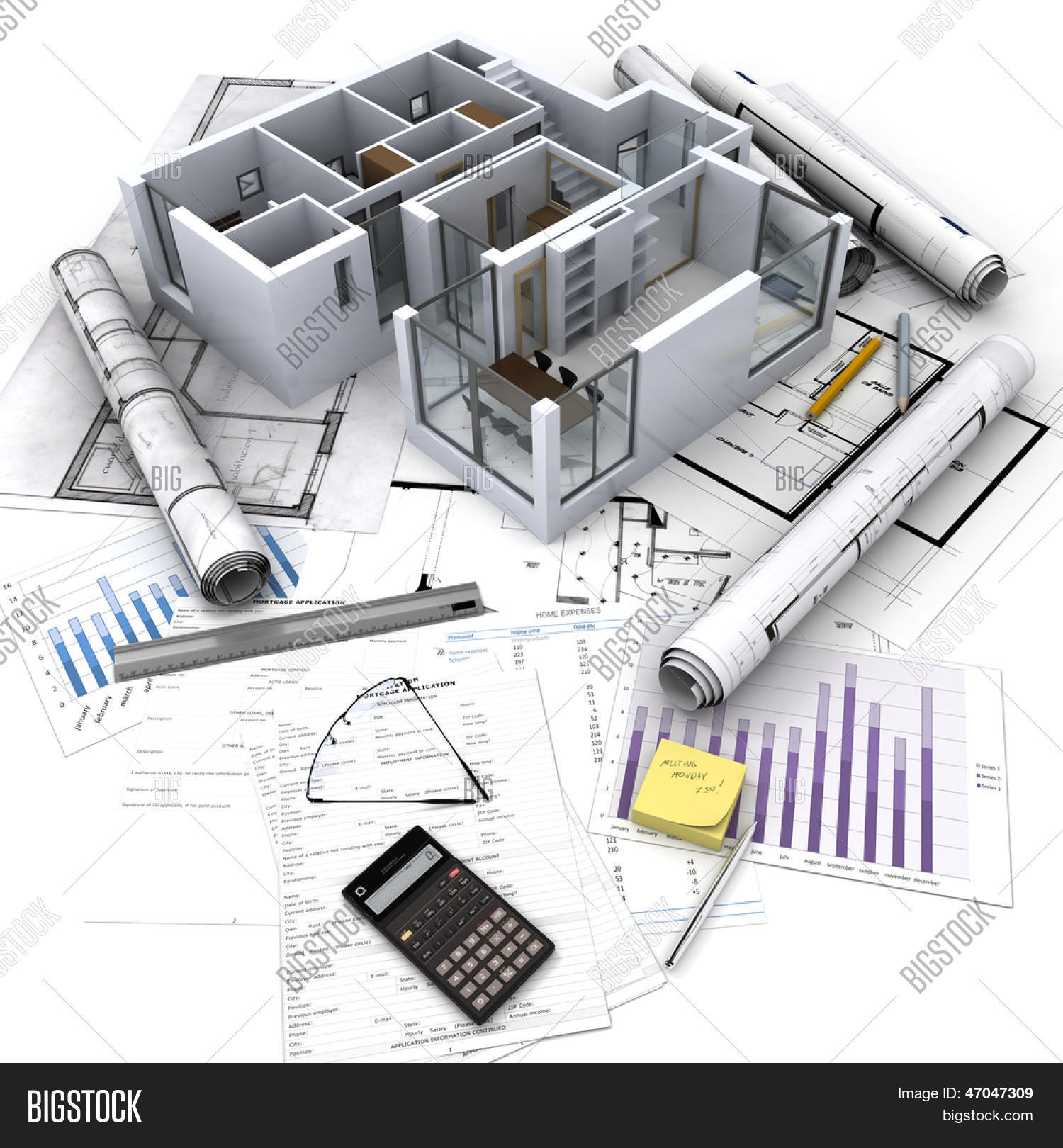 Office building open image photo free trial bigstock office building with open interior on top of blueprints documents and mortgage calculations malvernweather Choice Image