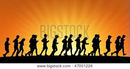 Big Group Of People Running On Sunset Background