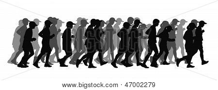 Big Group Of People Running Black Silhouette