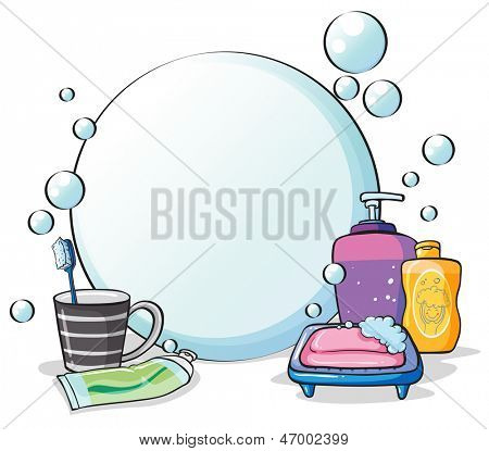 Illustration of the things needed for grooming on a white background