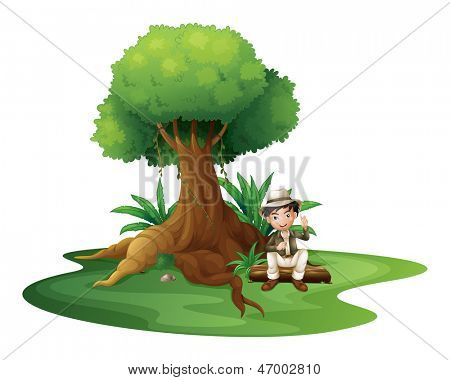 Illustration of a boy sitting under the big tree on a white background