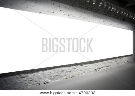Empty White Banner On Wall