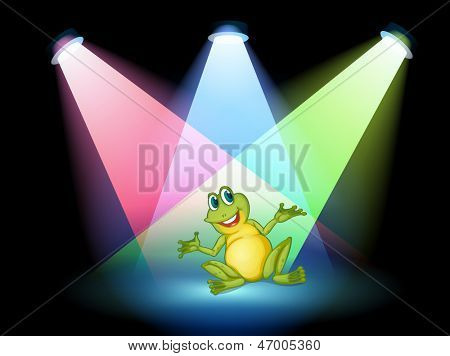 Illustration of a frog on the stage with spotlights poster