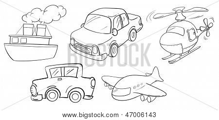 Illustration of the different kinds of transportations on a white background poster