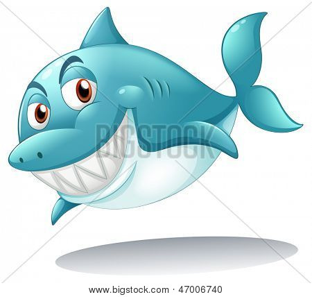 Illustration of a shark smiling on a white background