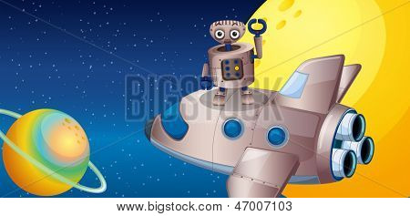 Illustration of a robot above the spaceship in the outerspace
