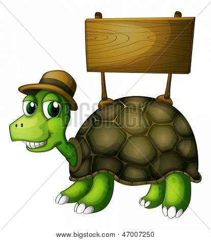 Illustration of a turtle with a wooden signboard at the back on a white background